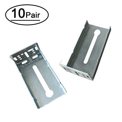 10 Pairs Rear Mounting Brackets for Drawer Slide - LONTAN B4502 Cabinet Drawer Bracket for Face Frame Cabinets for 1.77 inch(45mm) Width Drawer Gildes