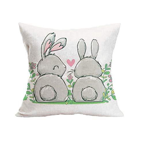 Funda de almohada de Pascua creativa, suave, decorativa, cuadrada, funda de cojín, funda de almohada, decoración del hogar, para sofá, cama, silla, 45 cm x 45 cm