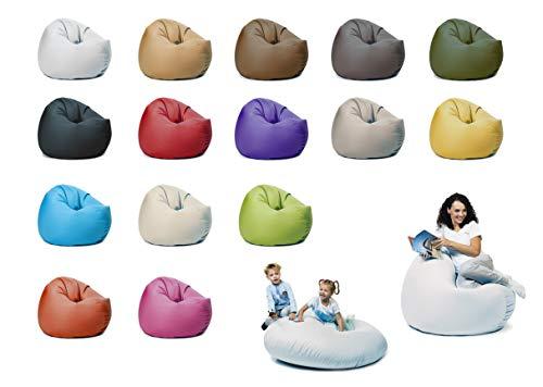 sunnypillow XXL Sitzsack mit Füllung 125 cm Durchmesser 2-in-1 Funktionen zum Sitzen und Liegen Outdoor & Indoor für Kinder & Erwachsene viele Farben und Größen zur Auswahl Weiß