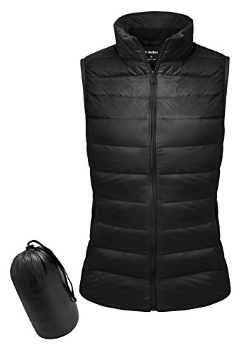 Yidarton Women Down Vest Packable Lightweight Outerwear Coat Jacket Puffer Vests(bk+l)