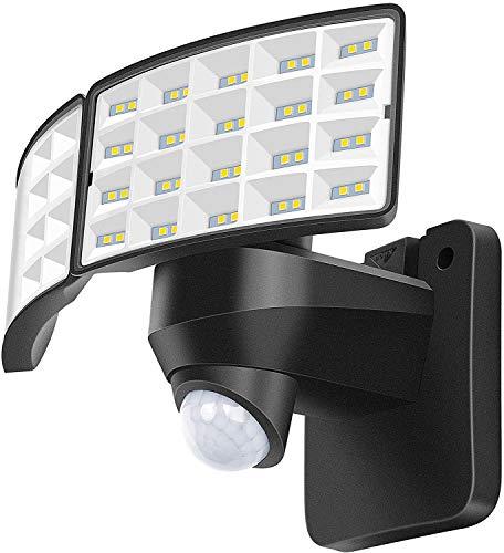 Luowan 20W LED Strahler mit Bewegungsmelder Außen 2400LM Außenstrahler, 5000K Tageslichtweiß Scheinwerfer IP65 Wasserdicht mit 0.8M Stromkabel, Ideale Aussenleuchte für Garten Garage Haus Hof(Schwarz)