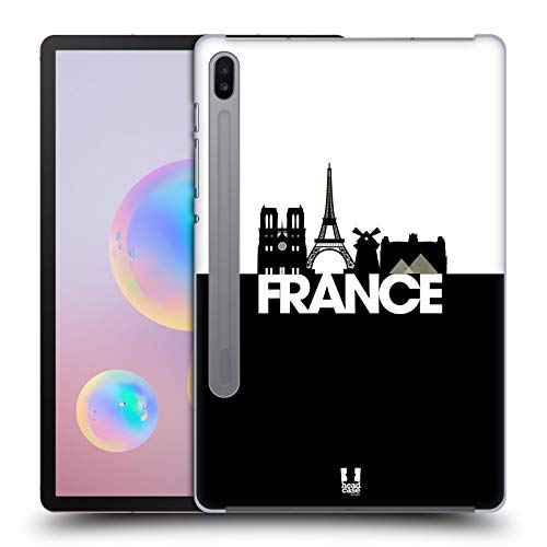 Head Case Designs France Black And White Skyline S3 Hard Back Case Compatible for Samsung Galaxy Tab S6 (2019)