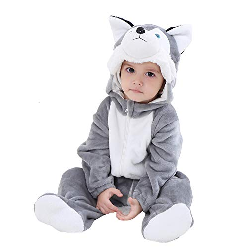 LOLANTA Baby Dalmatiner Hund Husky Onesie Kostüm Geburtstagsgeschenk Mädchen Junge Karikatur Tier Jumpsuit Spielanzug (12-17 Monate/ 73-80 cm, Heiser)