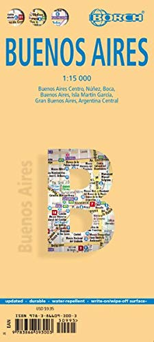 Laminated Buenos Aires City Streets Map by Borch (English Edition)