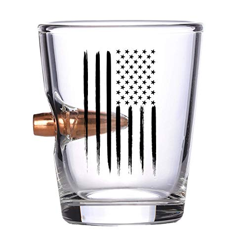 American Flag Shot Glass - Hand Blown Glasses - Real 308 Round Design - Patriotic Gifts