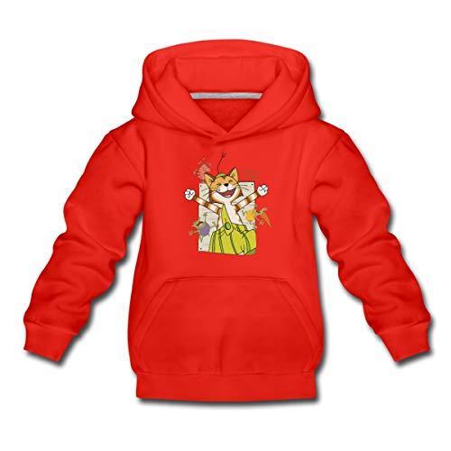 Spreadshirt Pettersson Und Findus Kater Lacht Mit Mucklas Kinder Premium Hoodie, 110-116, Rot
