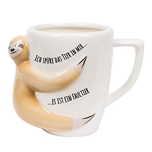 el & groove Faultier Tasse mit Spruch in weiß aus Porzellan, Sloth Kaffee/Tee Tasse 300ml für Faulpelze und Schlafmützen, Geschenkidee, Becher Büro Tasse, Deko, Geschenk Frauen, Geschenk Weihnacht