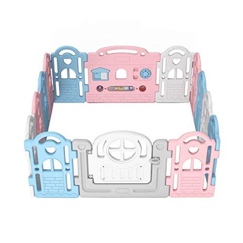 QIYUE Opvouwbare baby Box 14 Panel Activity Center Veiligheid playard Met Slot Deur, Kid's Fence Binnen Buiten, Gratis Installatie, Double Layer Sluiting en anti-slip basis for kinderen van 10 maanden