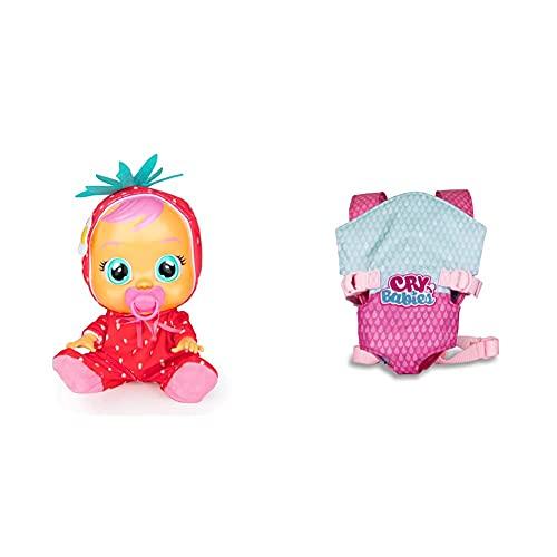 Cry Babies Tutti Frutti Ella, Fragola, Bambola Interattiva Profumata Alla Fragola Che Piange Lacrime Vere Con Ciuccio & Imc Toys Marsupio Giocattolo Per Bambini, 90019