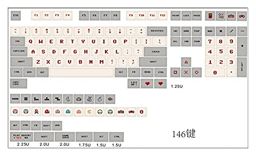 BAIMENGLONG keycaps 1 Set Gameboy Childhood Classic Retro Game Key Cap for MX Switch Mechanical Keyboard XDA Profile Keycaps for FC NES Super Mario Gaming Hats (Color : Full Set Key Cap)