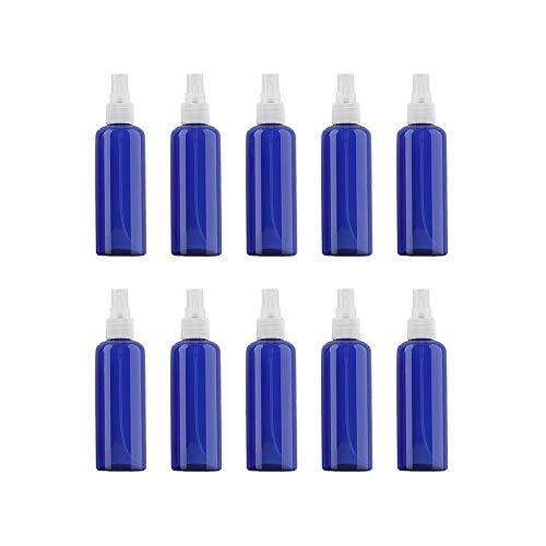 VOANZO 10PCS Botella de spray de plástico vacía 100ml Conjunto de atomizador de viaje de niebla fina Tamaño de viaje recargable Artículos de tocador de botella Contenedores de líquido (azul)