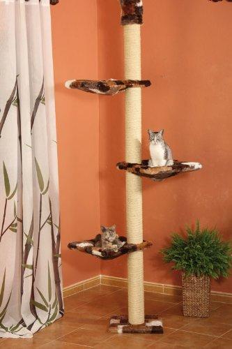 CLEVERCAT Deckenkratzbaum Anja, stufenlos höhenverstellbar von 240 bis 265, mit kuscheligen Schlafmulden zum Ausschauhalten für Ihren Stubentiger 4593 18