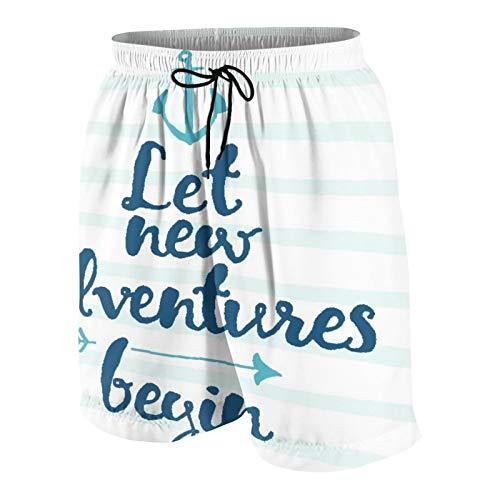 BCVHGD Herren Beiläufig Boardshorts,Lass Neue Abenteuer beginnen,Schnelltrocknend Badehose Strandkleidung Sportbekleidung mit Mesh-Futter