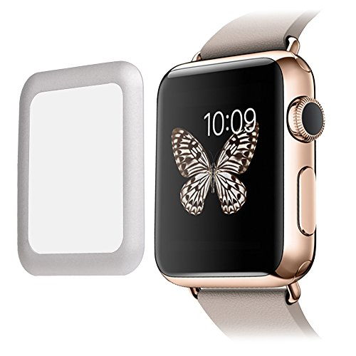 [Edge to Edge] SUPTMAX Screen Protector for Apple Watch 38mm Full Coverage [Anti-Scratch] Cover for Apple Watch Tempered Glass Screen Protector for Apple Watch (38mm-Silver)