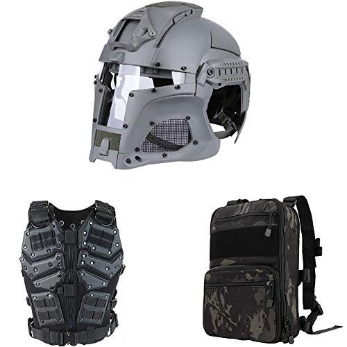 Outdoor-Militär spezielle Taktische Multifunktionsanzug einschließlich Weste, Helm, Rucksack, Kampftraining Erwachsene Männer spezielle Ausrüstung, Live-CS,Packaged