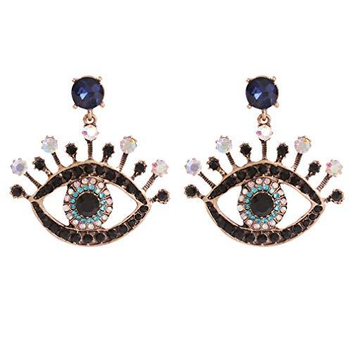 Pendientes de ojos del diablo YAZILIND, pendientes de diamantes, pendientes de perno de ojos azul escote turco mujeres niñas oreja joyería azul