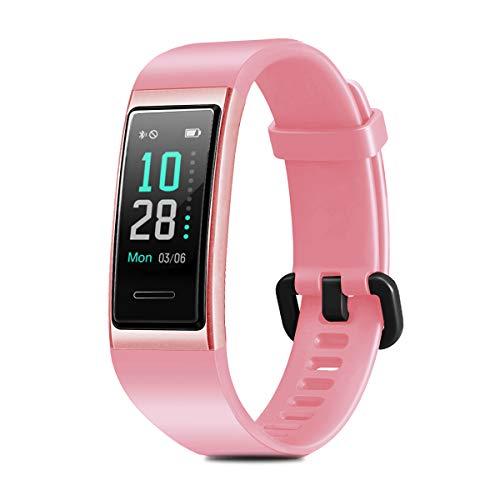 CHEREEKI Fitness Armband, Fitness Tracker Wasserdicht IP68 Fitness Uhr mit Pulsmesser Farbbildschirm Aktivitätstracker Schrittzähler Uhr Smartwatch Stoppuhr SMS Anruf Beachten für Damen Herren (Rosa)