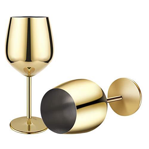 Rotweinglas aus Edelstahl mit Metallstiel,Edelstahl Rotweinglas Sektkelch Becher Trinkbecher 500 ml 2er Set 500 ml gold 商品名称
