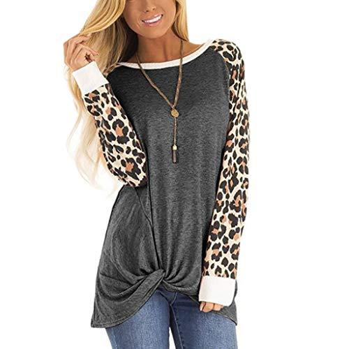 Feytuo T-Shirts Damenmode Leoparden Muster Oberteil Freizeit Langärm Elegant Shirt Regular Fit Mode Frauen Casual 2019 Blusen Herbst Winter Sales Top Günstig Schön