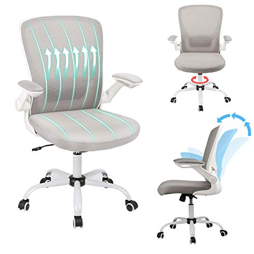 Ergousit Home Office Chair Ergonomic Computer Chair Mesh Mid Back Desk Chair with Flip-up Arms, Task Chair with Lumbar Support Breathable Backrest,360° Rolling Casters