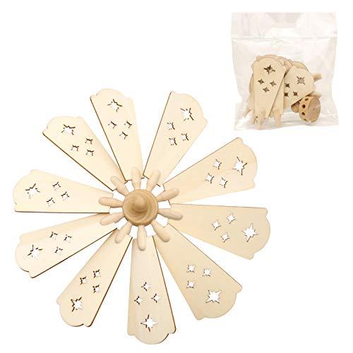 Dekohelden24 10 Stück Holz Pyramiden-Ersatzflügel inkl. Kopf/Flügelrad, für 1 bis 2 Stöckige Laser-Holzpyramiden geeignet, Maße L/B: 9 x 4 cm, Ø 20 cm.
