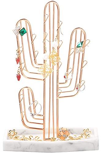 Recet Expositor de joyas de metal para pendientes, diseño de bailarina y cactus, para collares, anillos, pendientes (oro rosa)