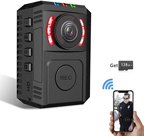 Upgrade Police Body Camera for Law Enforcement, 1080P HD Body Worn Camera with Night Vision, Built in 128GB SD Card, Wearable Police Cam with Phone App, Body Camera with Clip for Bicycle, Car, Hiking