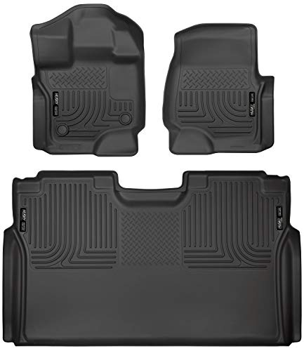Husky Liners 94041 Fits 2015-20 Ford F-150 SuperCrew Weatherbeater Front & 2nd Seat Floor Mats, Black