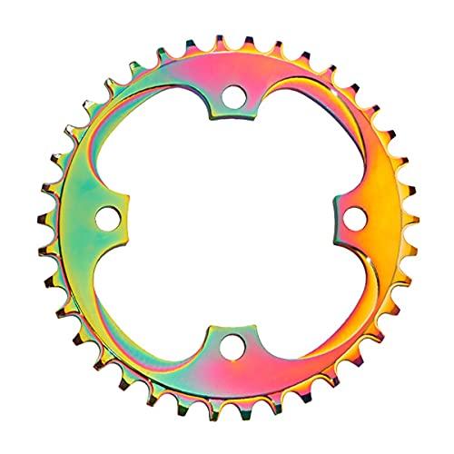 Plato de bicicleta Bicicleta De Montaña Colorida De La Bicicleta De La Bicicleta De Una Sola Velocidad 32-38T Piezas De Bicicleta De Anillo De Cadena Única Modificadas ( Color : Rainbow , Size : 36T )