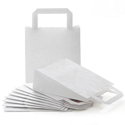 Logbuch-Verlag 100 kleine WEISSE Papiertaschen Papiertragetasche 18 x 8 x 22 cm Papiertüte zum Bemalen Kinder basteln Verpackung Tüte Papier Henkel Tragegriff