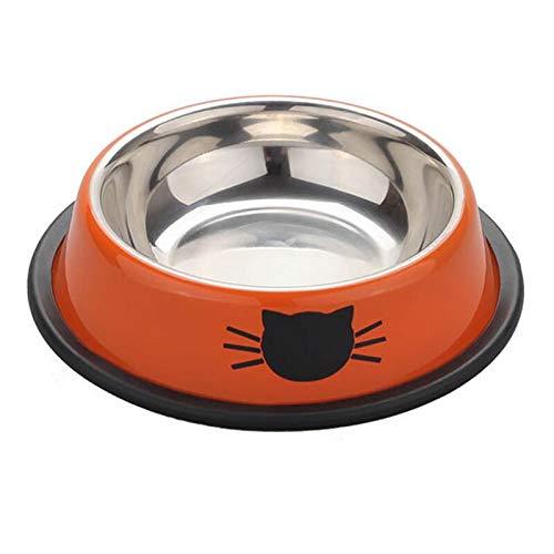 Alimentador de agua doble para mascotas para perros y gatos Suministros para mascotas Alimentacin de platos a prueba de salpicaduras de acero inoxidable para mascotas (color Beiger)