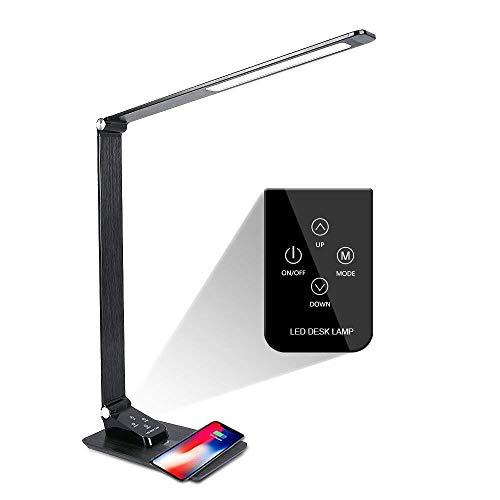 Led-bureaulamp, inklapbaar, dimbaar, met kalenderfunctie, wekker, draadloze oplader/USB-oplaadpoort.