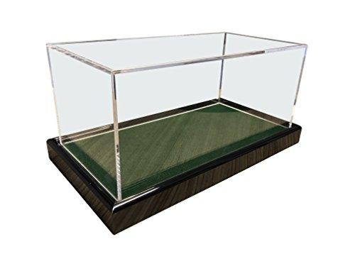 LL-Golf Grote universele acryl vitrine 22 x 12 x 10,5 cm / showcase / display case met donkergroen fluweel bijvoorbeeld voor modelauto 1:24, 1:32, tennisbal, baseball, 3 golfballen, figuren, modellen, horloges, mineralen