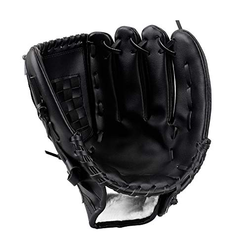 HIMETSUYA Baseball Handschuh(10,5''/12,5'') Sport & Outdoor Batting Softball Linke Hand Glove für Kinder Erwachsene Schwarz (10,5'')