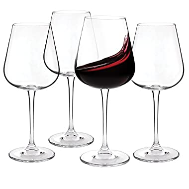 Crystal Red Wine Glasses - Set of 4 - Lead-Free Glass Imported From The Czech Republic- 450ml (15.2 oz.)