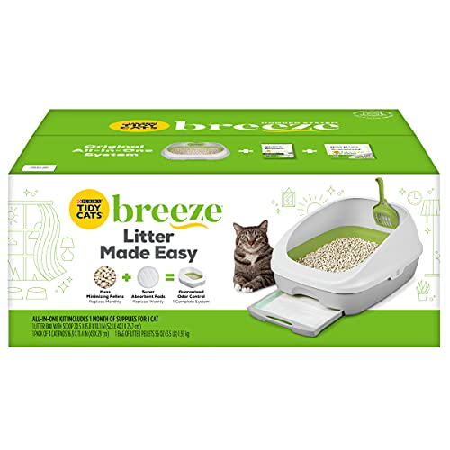 pellet cat litter boxes Purina Tidy Cats Breeze Cat Litter Box System Starter Kit, Breeze Cat Litter System With Pads & Pellets