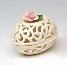 Cosmos Gifts Fine Elegant Jade Porcelain Pink Rose Pierced Cut Out Oval Egg Shape Box, Jewelry Box, Trinket Box, 3-3/8