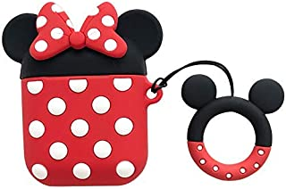 Cute Red Black Cartoon Mouse Airpods 1 2 Shockproof Protector Silicone Cover with Keychain Ring Holder Custom Skin for Apple Air pods Earphone Charging Case (Red-Black-Minnie)