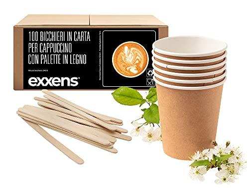 Exxens Bicchieri Carta Cappuccino, Grandi, Biodegradabili Compostabili Ecologici, Tazze in Cartone Monouso Avana con Palette in Legno (100)