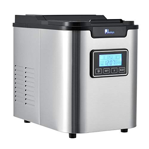Juskys Eiswürfelmaschine MIM242L – 3 Eiswürfel Größen einstellbar, Timer Funktion und automatische Selbstreinigung - Elektrischer Eiswürfelbereiter