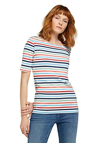 TOM TAILOR Damen 1026643 Striped T-Shirt, 26250-Peach Blue Mulitcolor, M