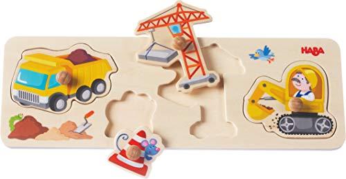 HABA 301943 - Greifpuzzle Auf der Baustelle, 4-teiliges Holzpuzzle mit bunten Baustellenmotiven und griffigen Holzknöpfen, Holzspielzeug ab 12 Monaten