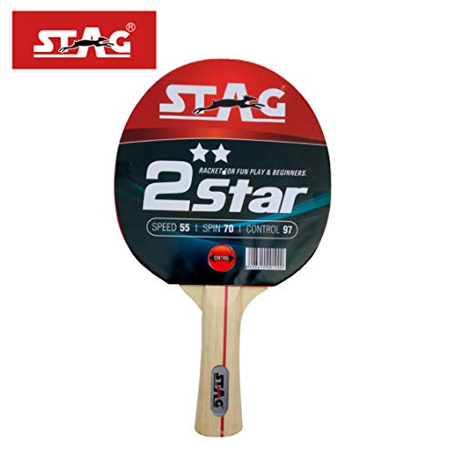 Stag 2 Star Table Tennis Racquet( Multi- Colour, 148 grams, Beginner )