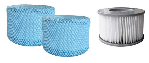 MSPAUK B0303499 Filterkartuschen mit Schutznetz, Netzabdeckung, 90 Falten, Sieb, Doppelpack, Pool Bubble Spa Zubehör, geeignet für alle Mspa Whirlpools, weiß