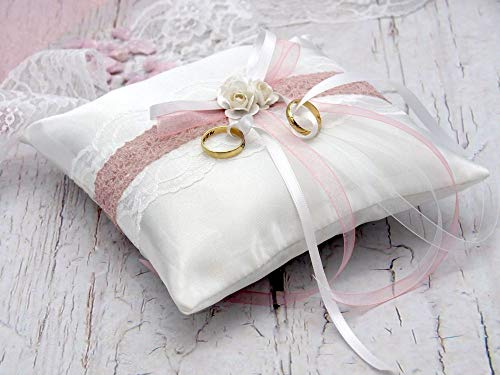 Satin Ringkissen | rosa, weiß