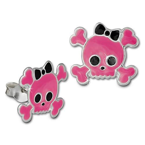 HANSON-Weenie bambini orecchini Teschio rosa orecchini in argento bambino drachensilber TW SDO8108P