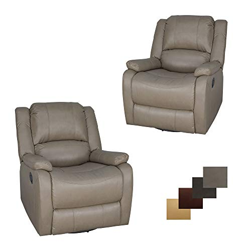 Set of 2 | RecPro Charles Collection | 30' Swivel Glider RV Recliner | RV Living Room (Slideout) Chair | RV Furniture | Glider Chair | Putty