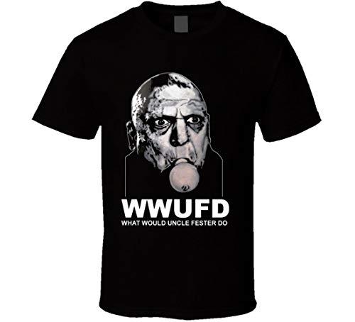 Preisvergleich Produktbild What Would Uncle Fester Do Addams Family Glühbirne im Mund Funny TV Horror Show T-Shirt Schwarz Gr. 56,  Schwarz