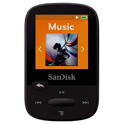 SanDisk Clip Sport 4GB MP3 Player, Black With LCD Screen and MicroSDHC Card Slot (Renewed)