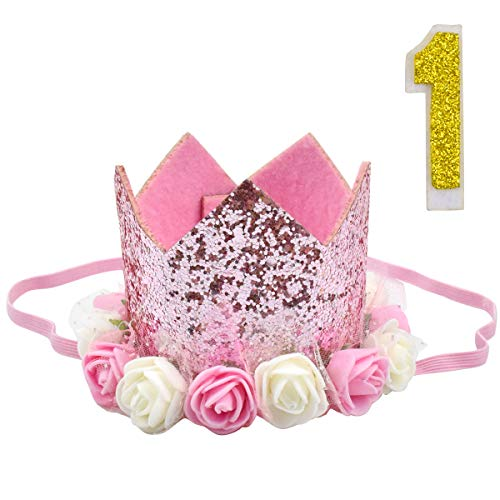 Jinlaili Baby Birthday Hat Girl, Baby Princess Crown for 1st, 2nd, 3rd, Glitter Baby Birthday Party Hat with Elastic Band, Pink Flower Crown Hat for Children Birthday Photo Props (1 Jahr alt)